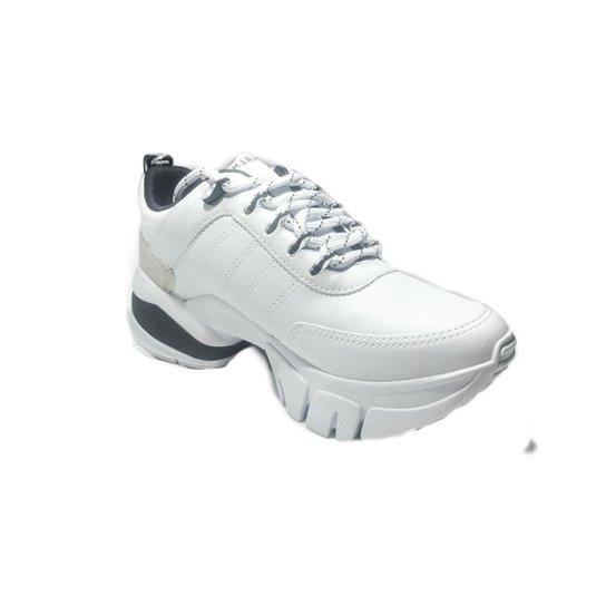 Tenis Feminino Ramarim Chuncky 2080203 Branco Cinza - Branco+Preto