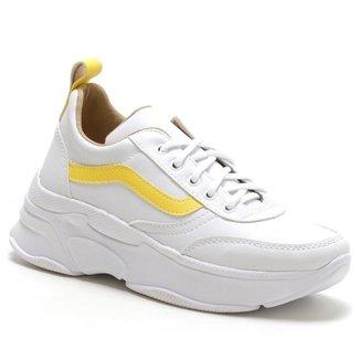 Tênis Feminino Sneaker Chunky Super Confort Branco/Amarelo