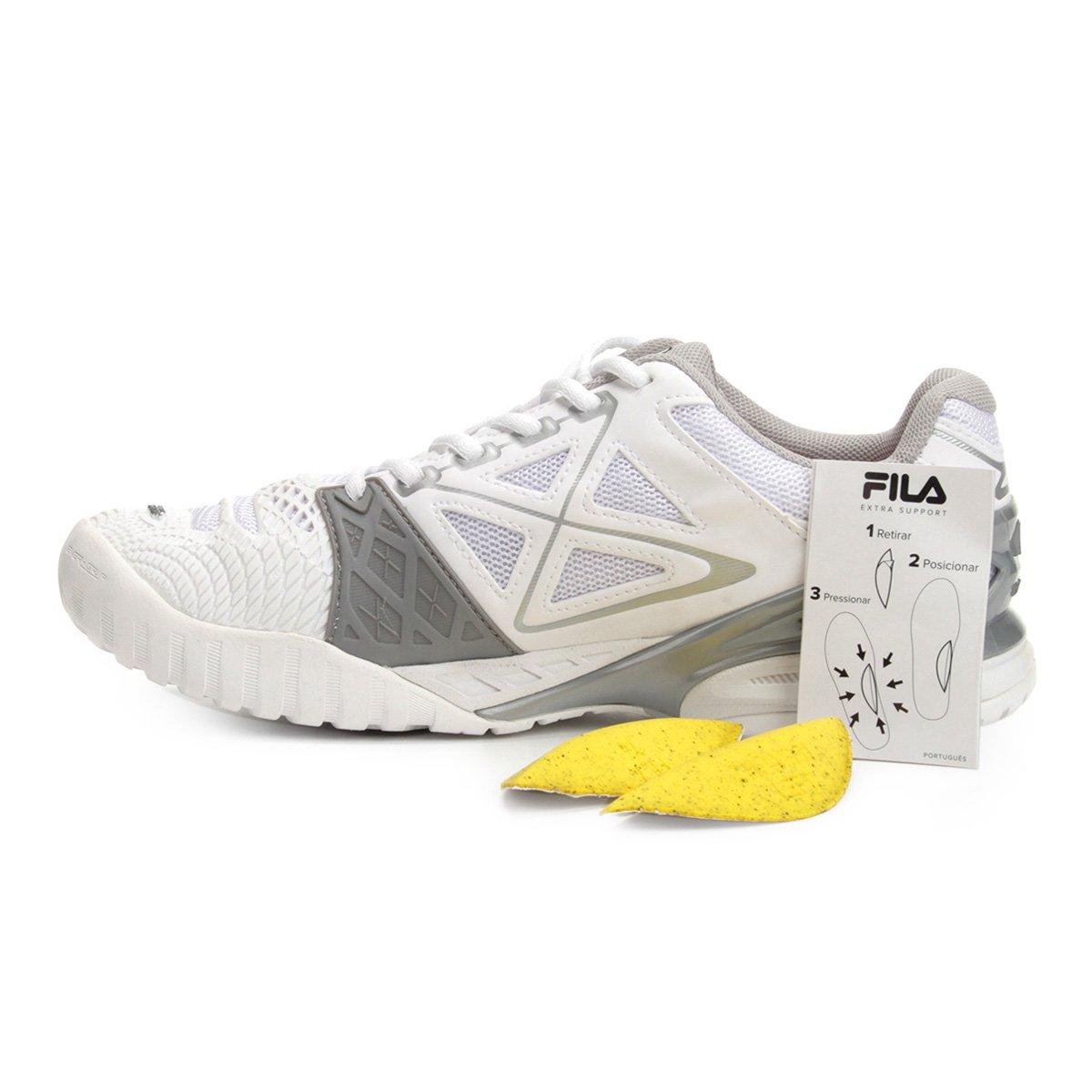 Tênis Fila Cage Delirium Indoor 2 Feminino - Branco e prata - Compre ... c9343cdd29ef9