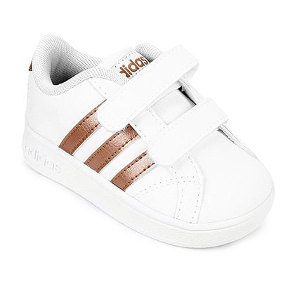 1c07a7ba9e3 Tênis Infantil Adidas Baseline - Branco e dourado - Compre Agora ...
