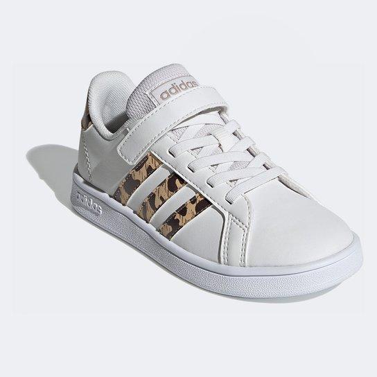 Tênis Infantil Adidas Grand Court Leopardo - Branco