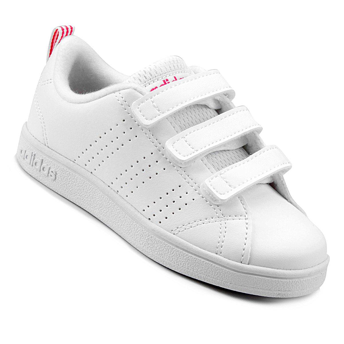 fc7d402a9b Tênis Infantil Adidas Vs Advantage Clean C - Branco e Rosa - Compre ...