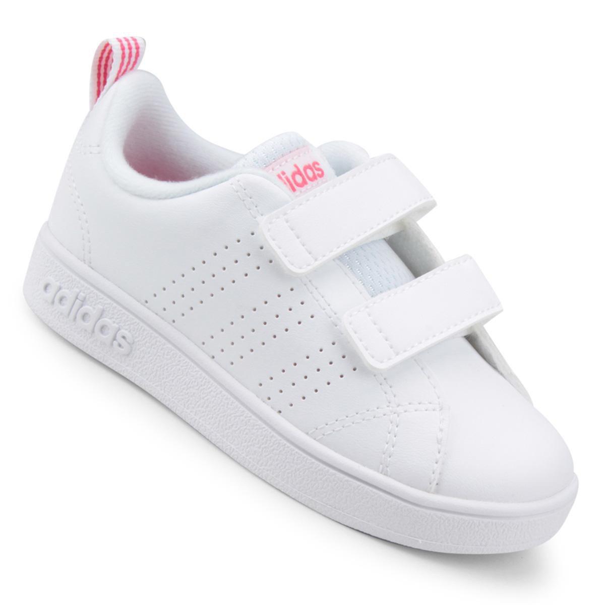 Tênis Infantil Adidas Vs Advantage Clean - Branco e Rosa - Compre Agora  b3d4f067ad0
