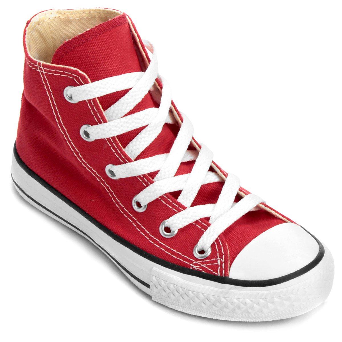 Tênis Infantil Converse All Star Chuck Taylor Hi Vermelho Preto Netshoes