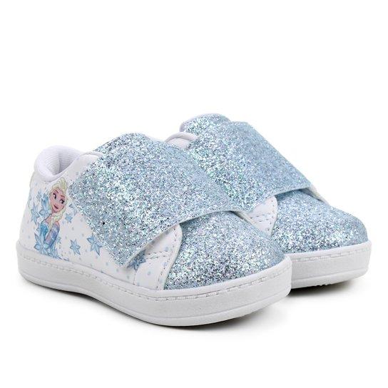 Tênis Infantil Disney Frozen Glitter Feminino - Azul+Branco