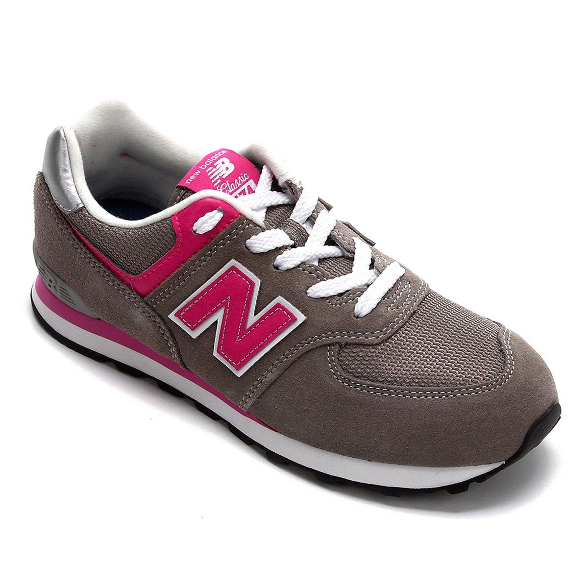 tenis new balance rosa e cinza