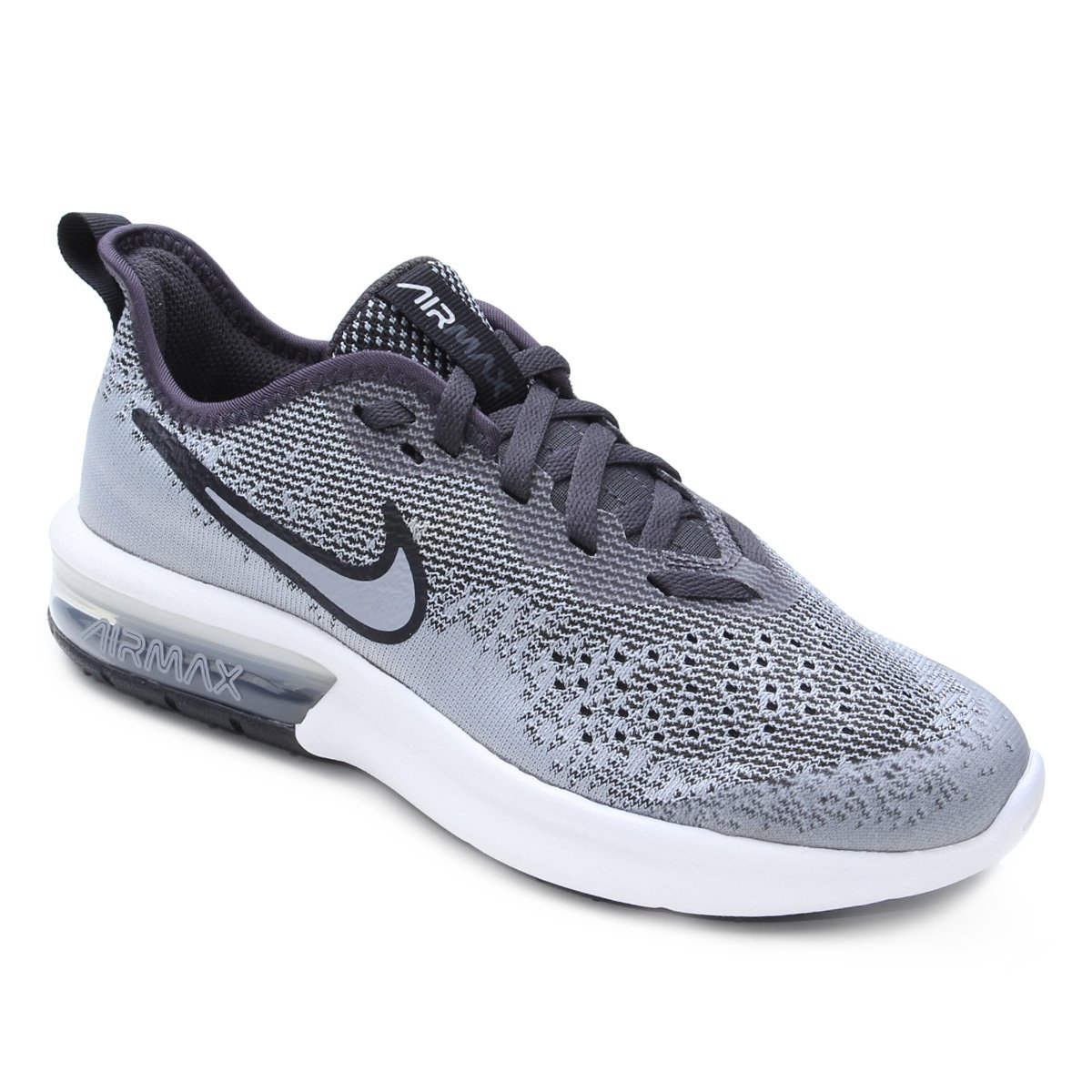 Tênis Infantil Nike Air Max Sequent 4 Masculino - Cinza e Branco ... bfe00ad797643