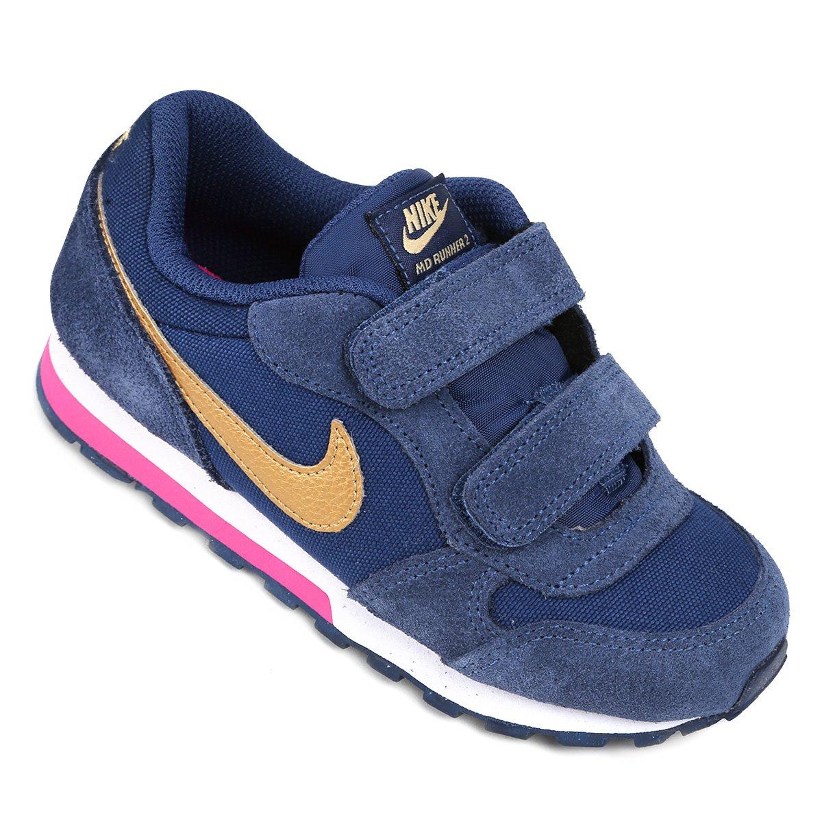 292bd0fb15635 Tênis Infantil Nike Md Runner 2 Feminino - Marinho e Pink - Compre Agora