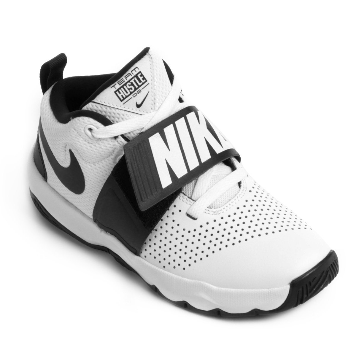 Tênis Infantil Nike Team Hustle D8 Masculino Branco e Preto
