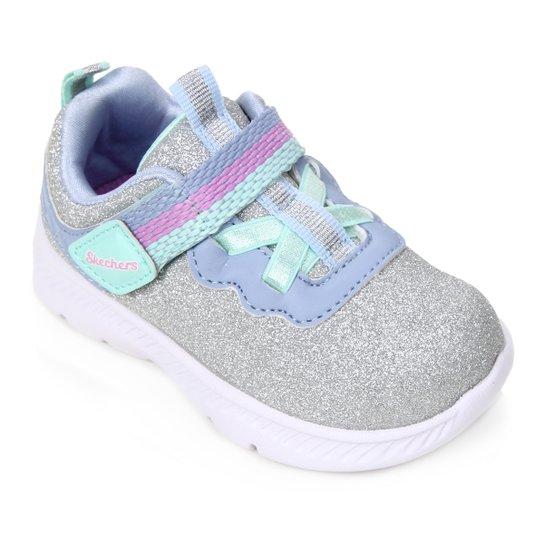 Tênis Infantil Skechers Comfy Flex 2.0  Feminino - Prata+Azul Claro