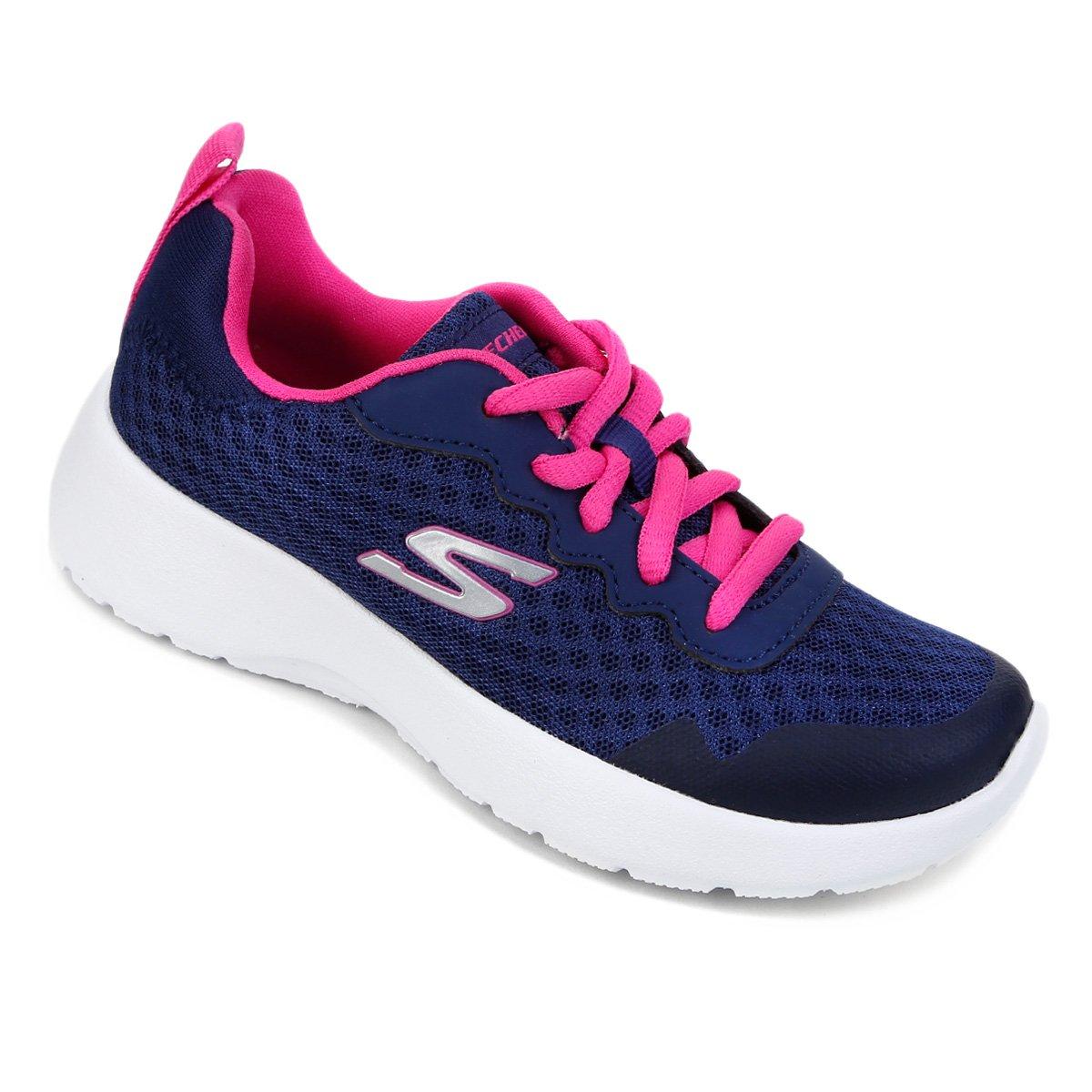 268a3d6c228 Tênis Infantil Skechers Dynamight Tempo Runner Feminino - Marinho e Pink -  Compre Agora