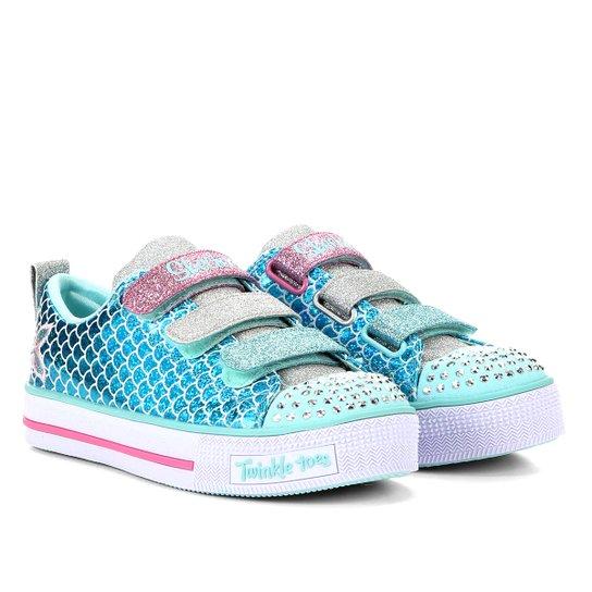 Tênis Infantil Skechers Metalizado Sereia Twinkle Lite Sparkle Scales Feminino - Azul Turquesa