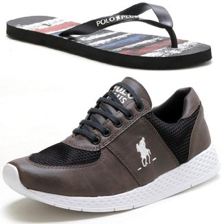 Tênis Jogging Casual Masculino com Chinelo Polo Plus