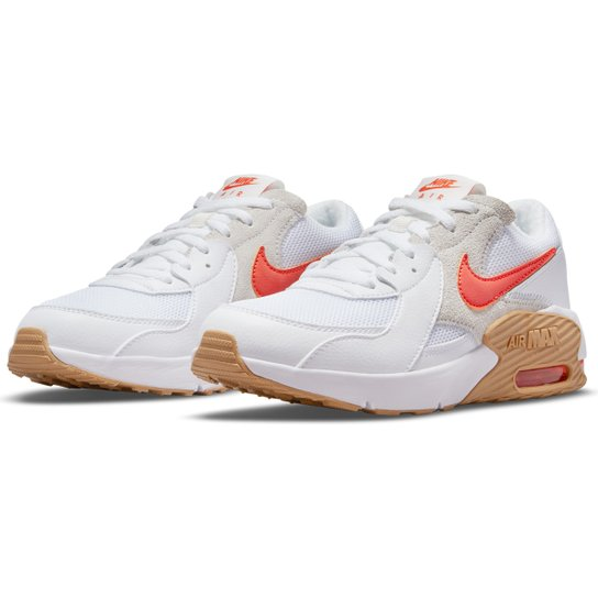 Tênis Juvenil Nike Air Max Excee - Branco+Laranja