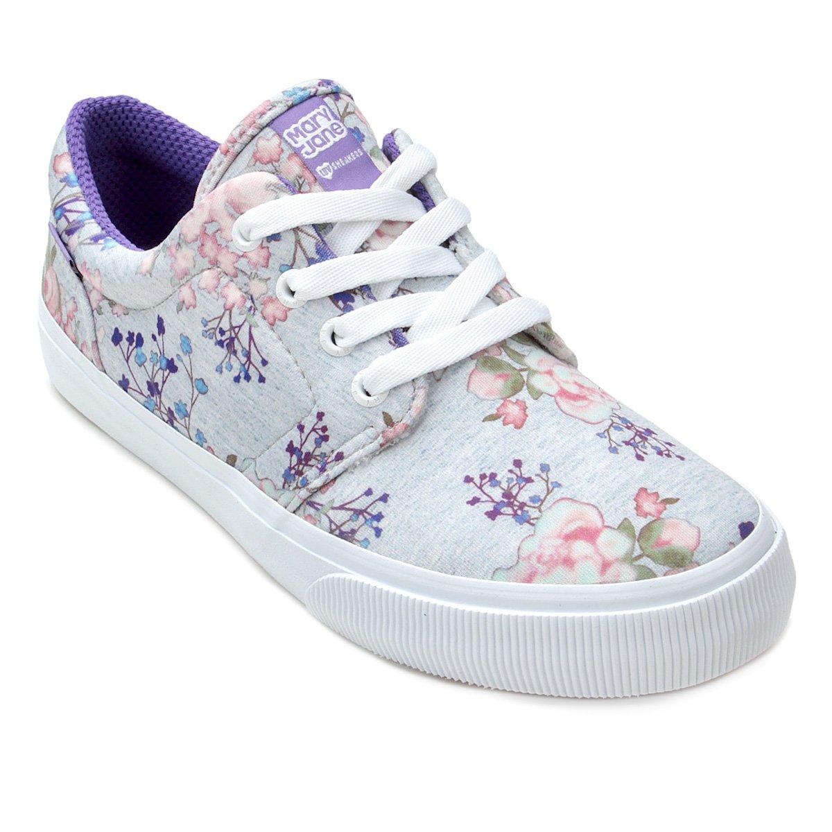 Tênis Mary Jane Blogger Flower Feminino - Cinza - Compre Agora ... 65854ffee2f