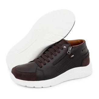 Tênis Masculino Casual Cano Alto Conforto Calce Fácil BR2 Footwear Café