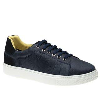 Tênis Masculino em Couro Graxo Marinho/Nobuck Marinho 2194 (Elástico)  Doctor Shoes
