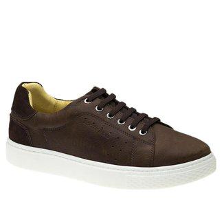 Tênis Masculino em Couro Graxo Telha/Nobuck Café 2194 (Elástico)  Doctor Shoes