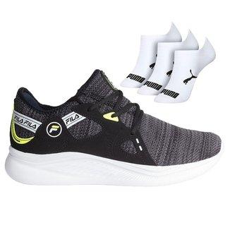 Tênis Masculino Fila Presence mais kit com 3 pares de meias