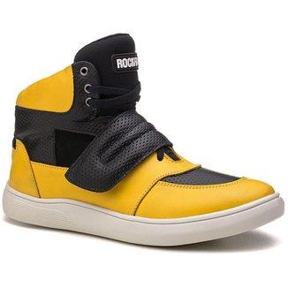 Tênis Masculino Rockfit U2 em Couro Amarelo e Preto