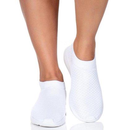 Tenis Meia Feminino Super Leve Cano Baixo - Branco