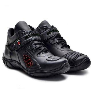 Tênis Motociclista Atron Shoes Couro Masculino Cadarço Leve