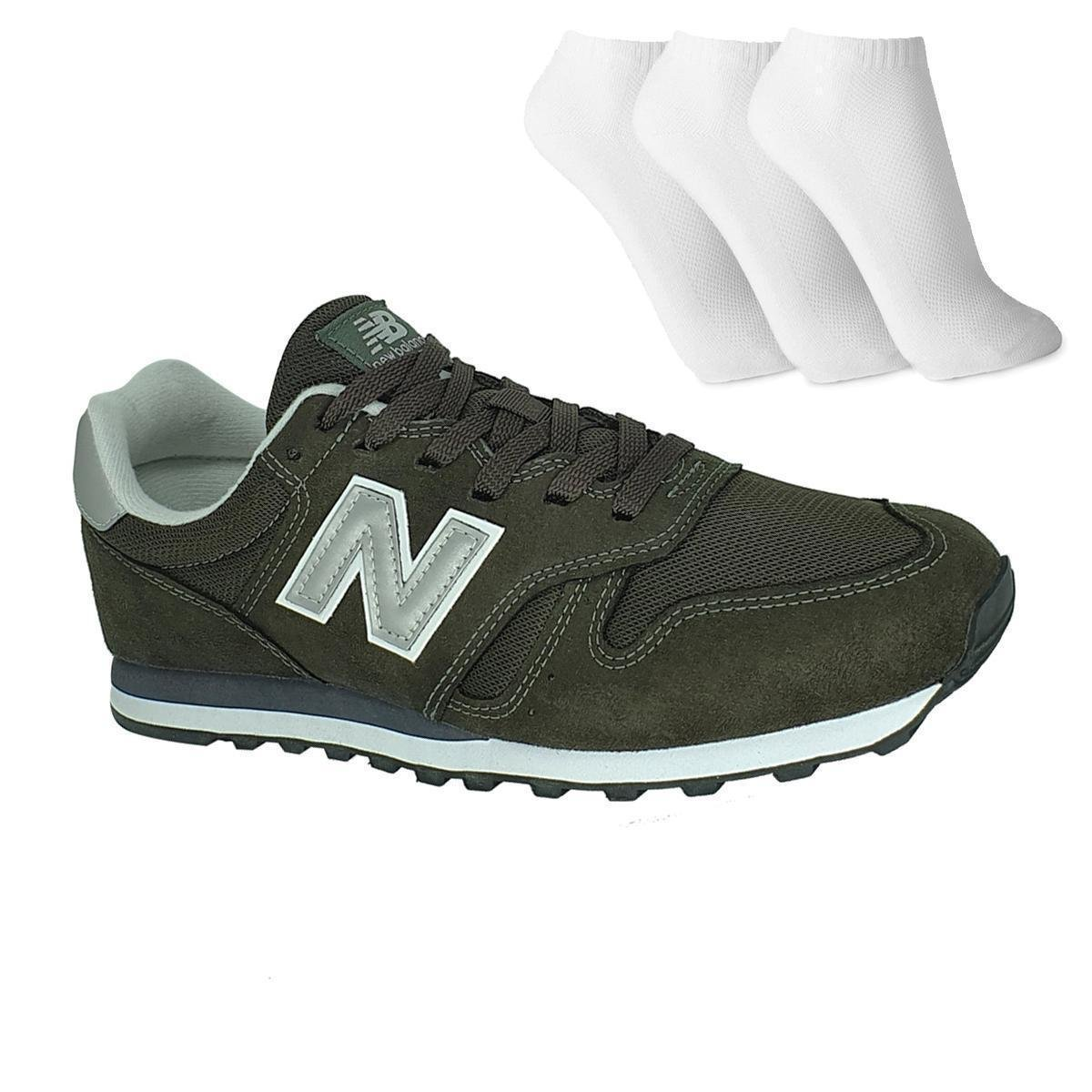 Tênis New Balance 373 3 Pares De Meia Masculino - Verde Prata ...