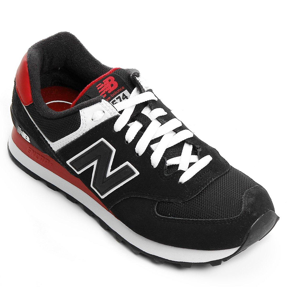 new balance 574 preto e vermelho
