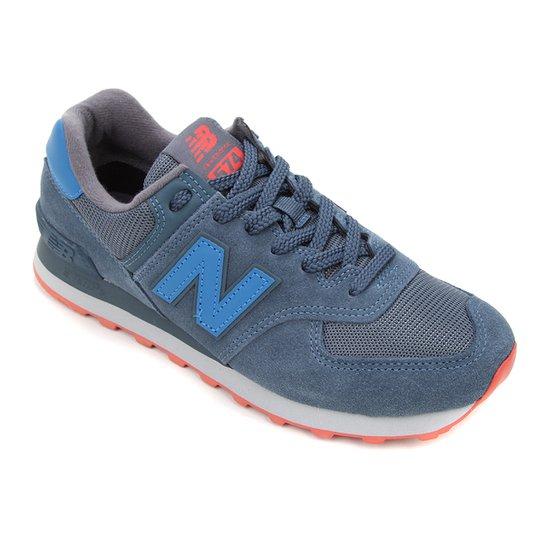 Tênis New Balance 574 Masculino - Azul+Laranja