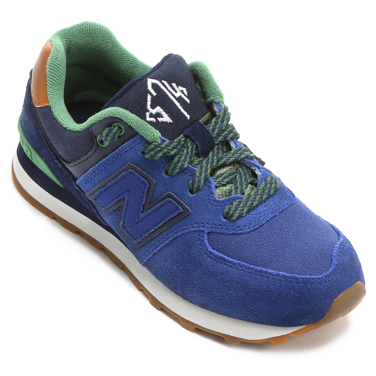 Tênis New Balance 574 New England Infantil - Marinho Verde   Netshoes