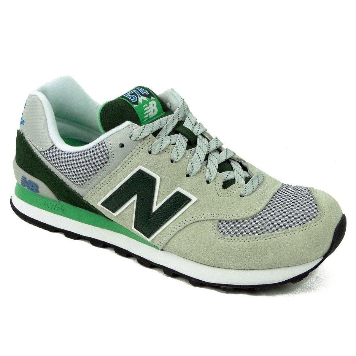 new balance 574 cinza e verde