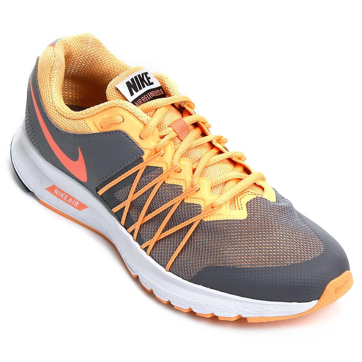 e4ba081605 Tênis Nike Air Relentless 6 MSL Feminino - Cinza e Laranja - Compre ...
