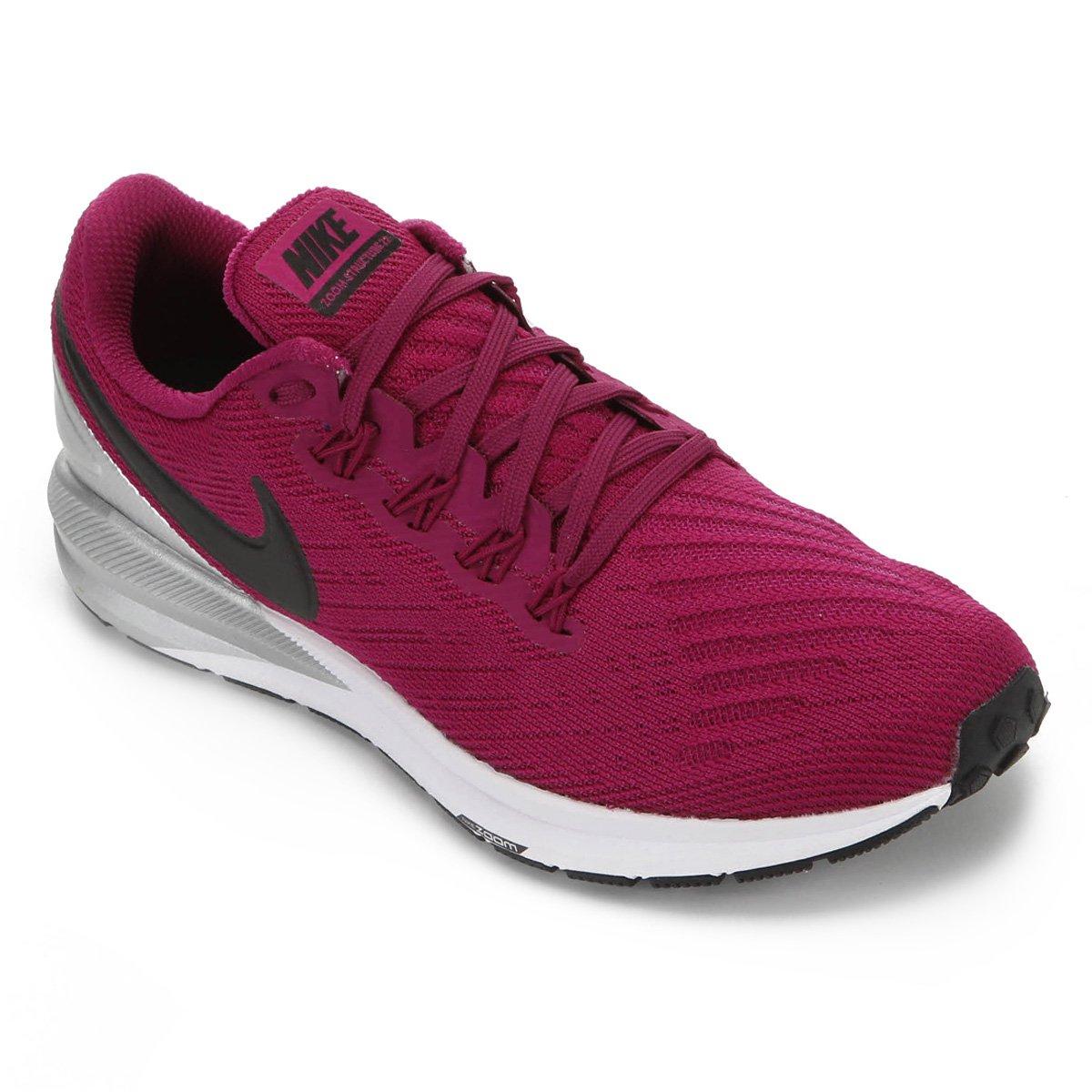 Tênis Nike Air Zoom Structure 22 Feminino Vinho E Prata