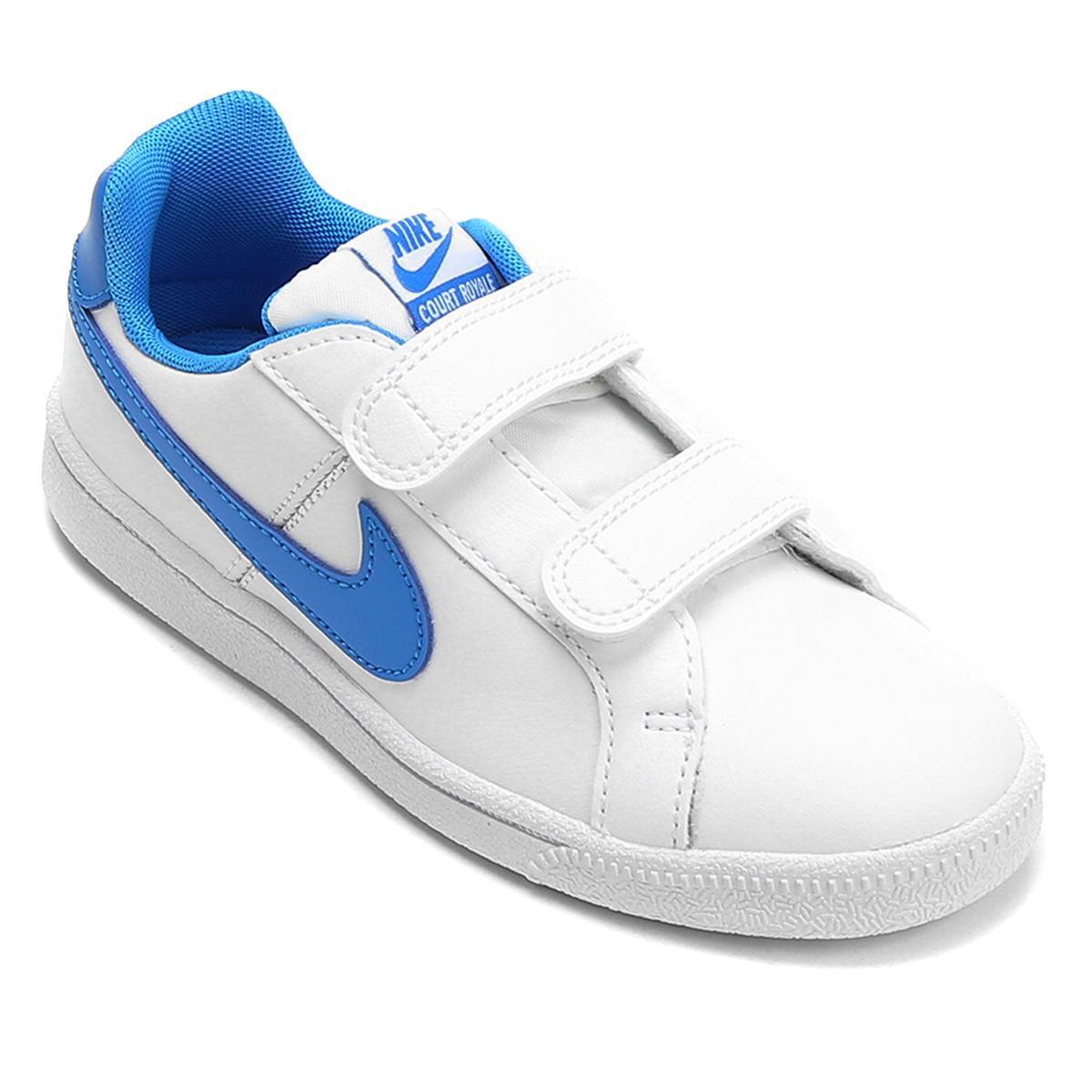 3ed9a129dcb Tênis Nike Court Royale Infantil - Branco e Azul - Compre Agora ...