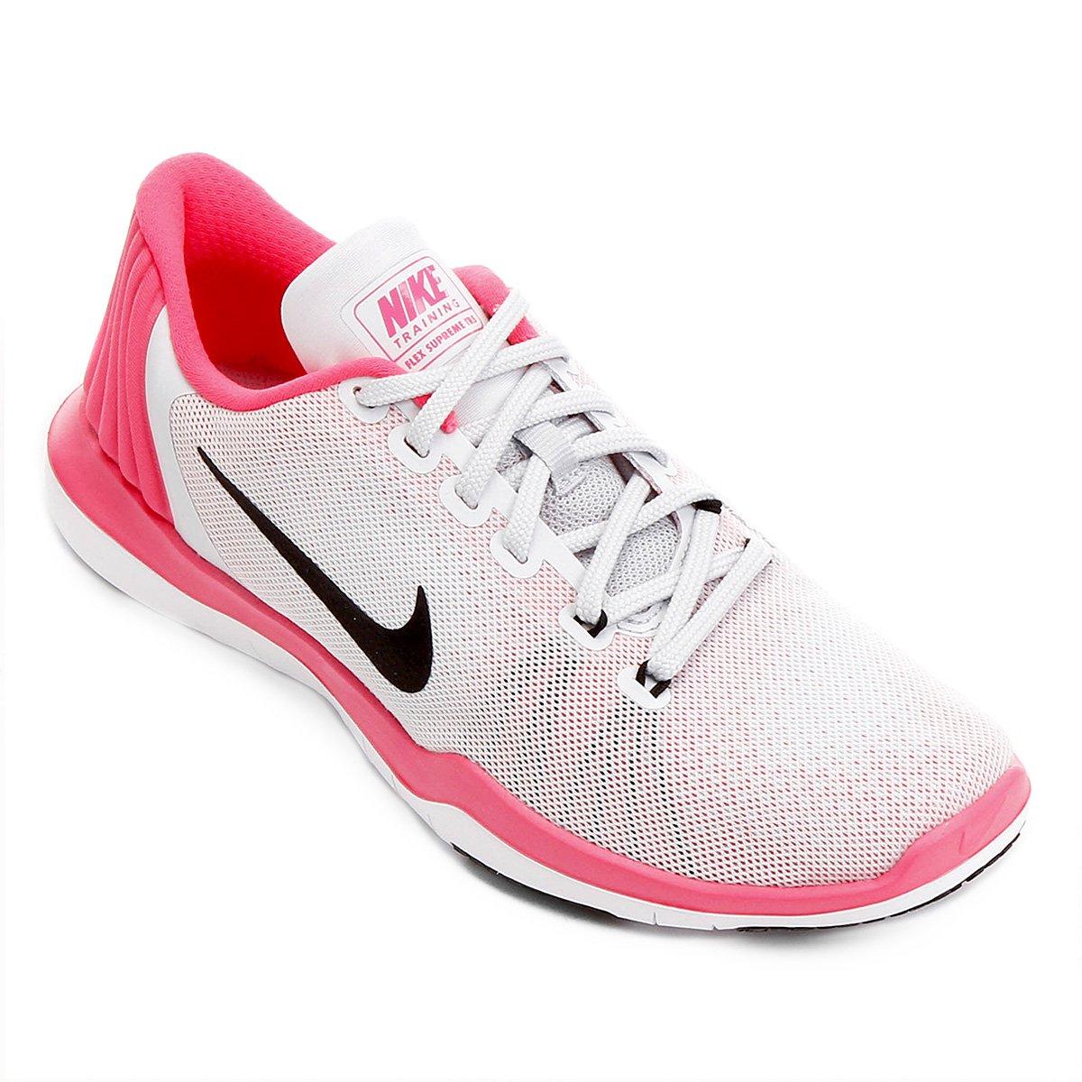 Tênis Nike Flex Supreme TR 5 Feminino - Branco e Rosa - Compre Agora ... 29eeba89c24be