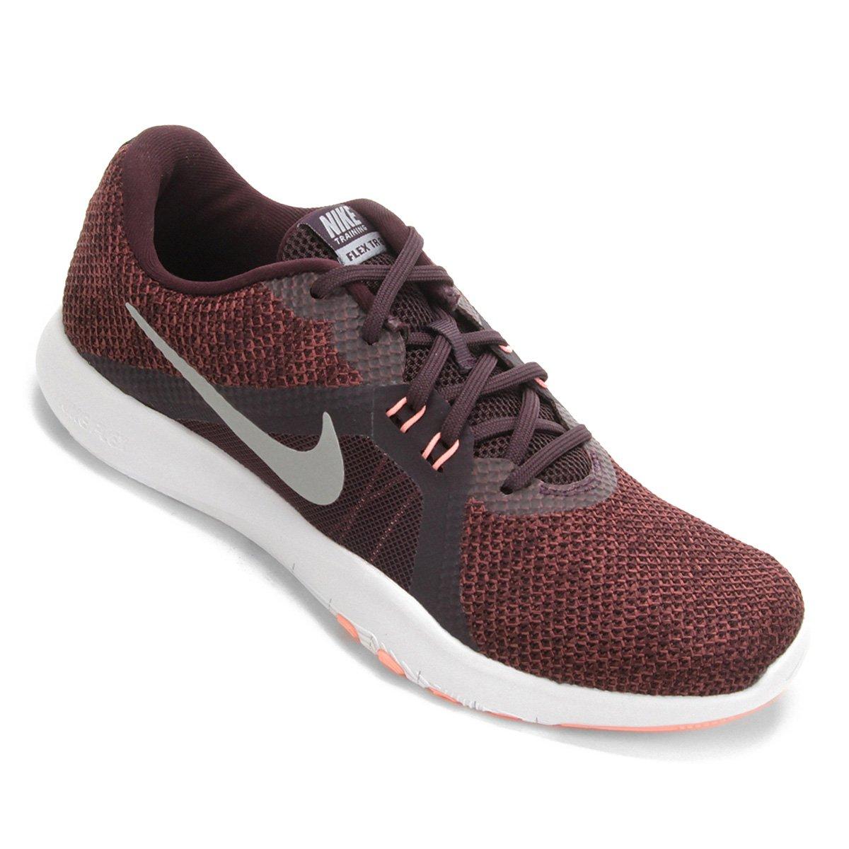 cf2020f5185 Tênis Nike Flex Trainer 8 Feminino - Vinho e Prata - Compre Agora ...