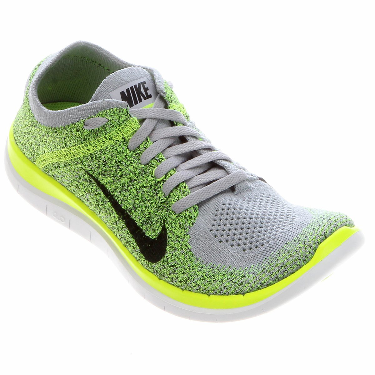 Tênis Nike Free Flyknit 4.0 Cinza e Verde Limão