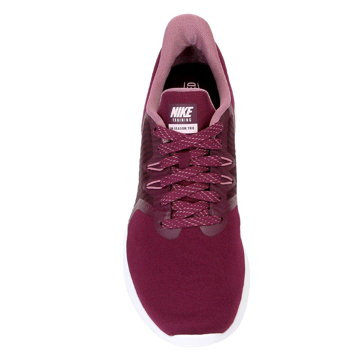 912f14e826 Tênis Nike In-Season Tr 8 Feminino - Vinho e Rosa - Compre Agora ...