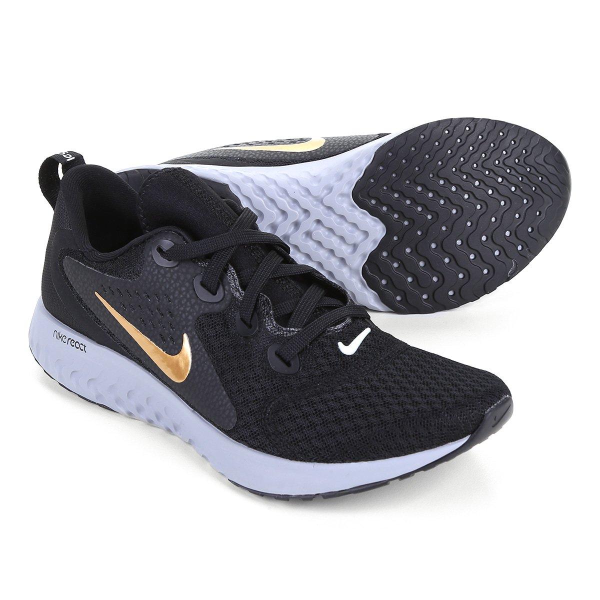 Tênis Nike Legend React Feminino Preto E Dourado