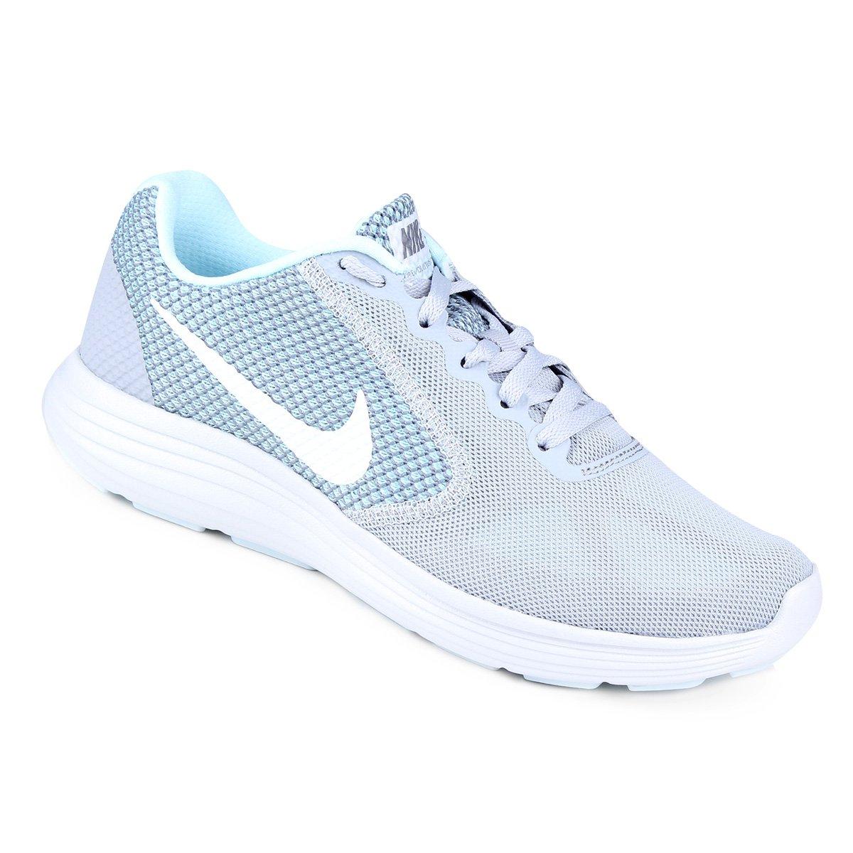 c99ef2e6bb4 Tênis Nike Revolution 3 Feminino - Cinza e Azul Claro - Compre Agora ...