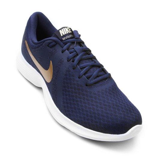 Tênis Nike Revolution 4 Feminino - Marinho+Dourado