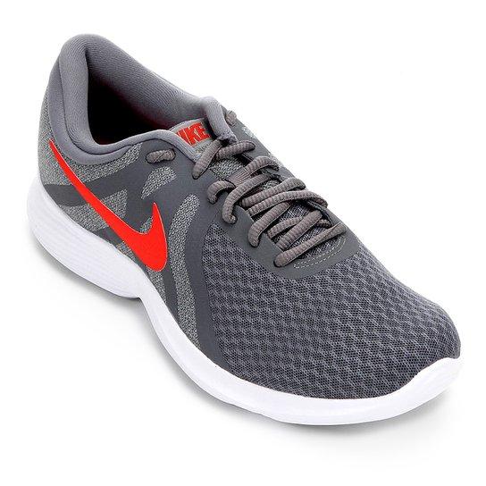 Tênis Nike Revolution 4 Masculino - Cinza+Vermelho