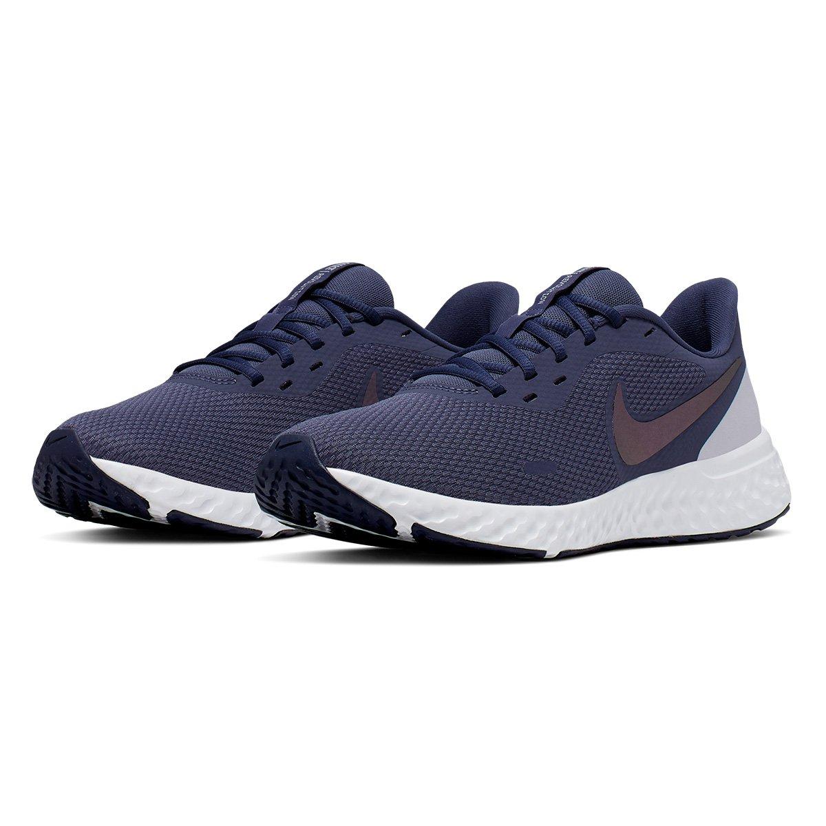 Tênis Nike Revolution 5 Feminino Lilás E Cinza