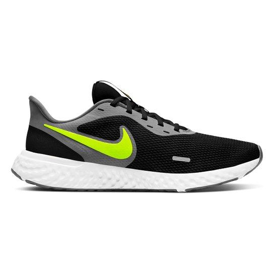 Tênis Nike Revolution 5 Masculino - Preto+Verde Limão