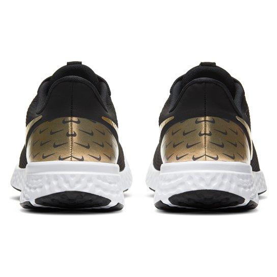 Tênis Nike Revolution 5 Prm Feminino - Preto+Dourado