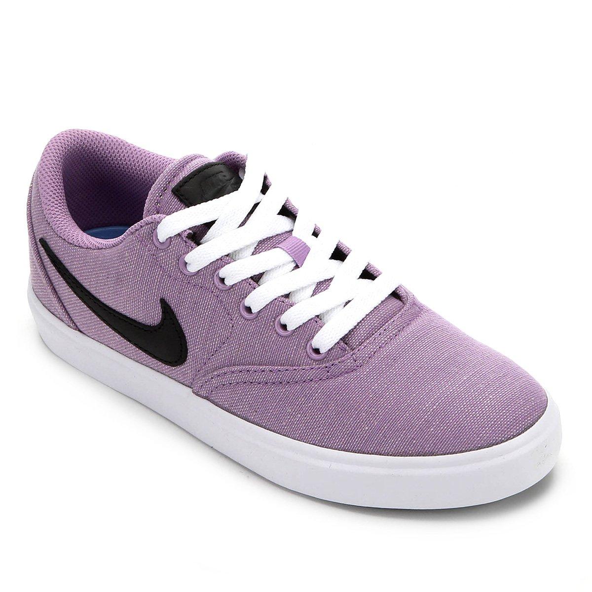 Tênis Nike Sb Check Solar Cvs P Feminino Lilás E Branco