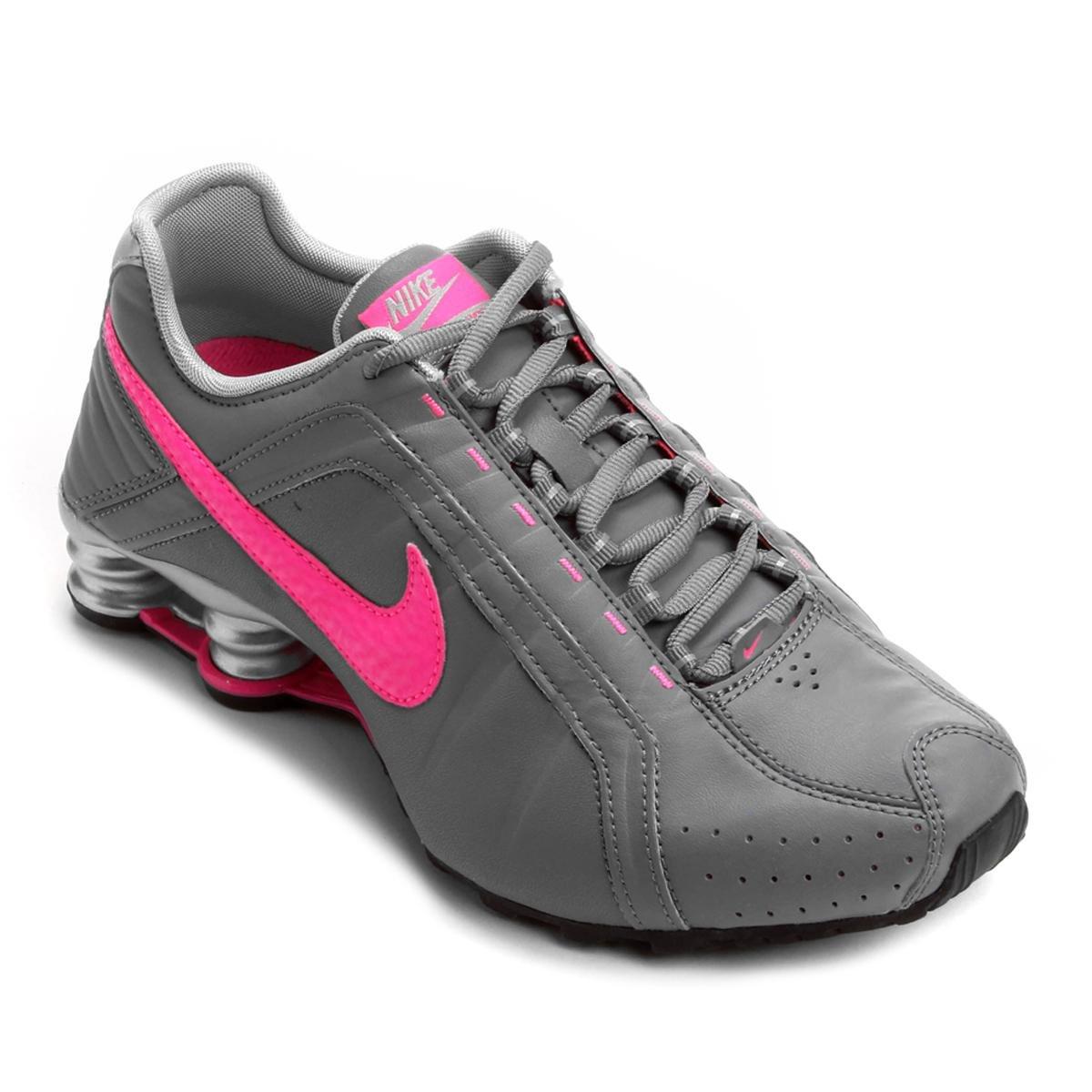 nike shox rosa com cinza