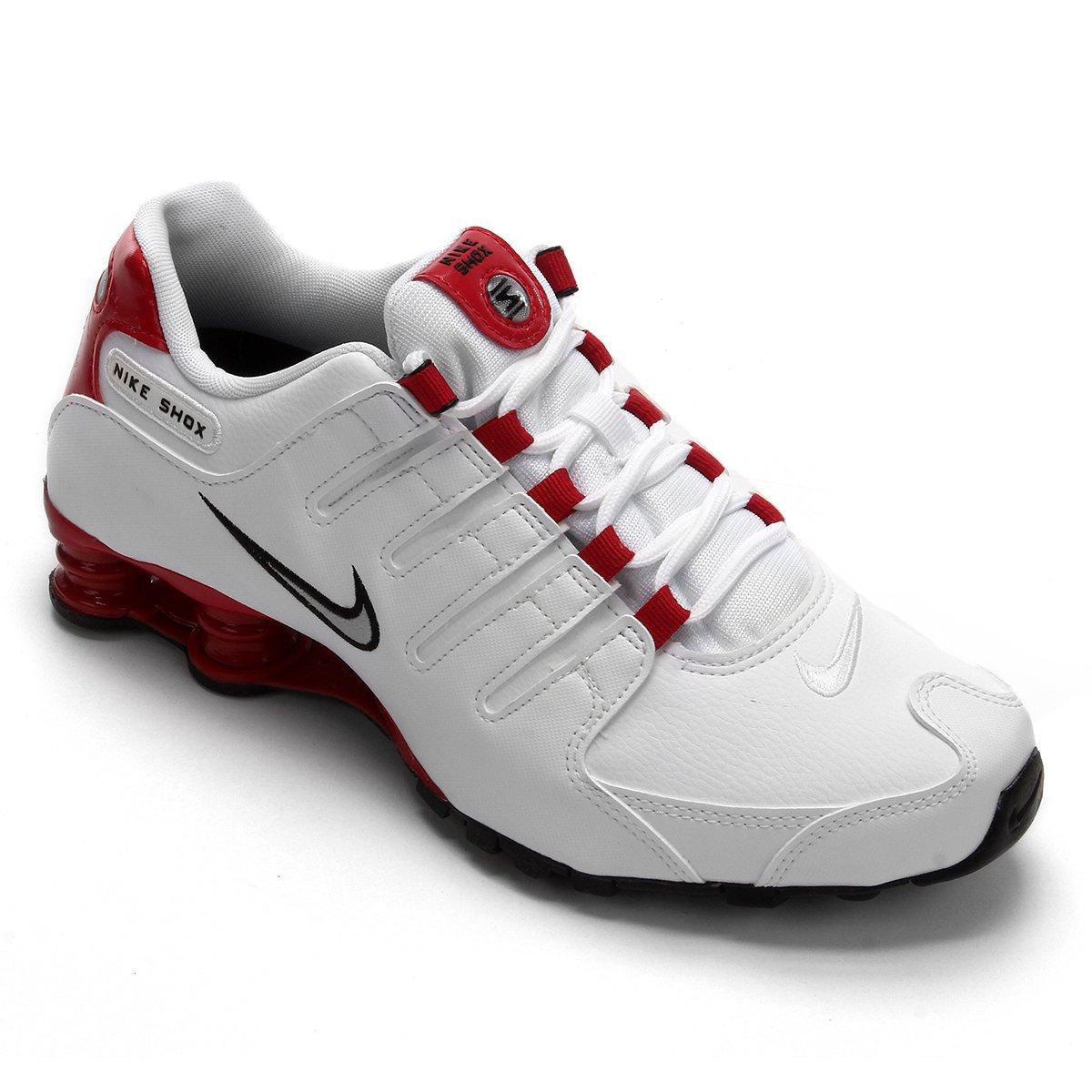best service 3bcd5 4db46 Tênis Nike Shox Nz Masculino - Branco e Vermelho