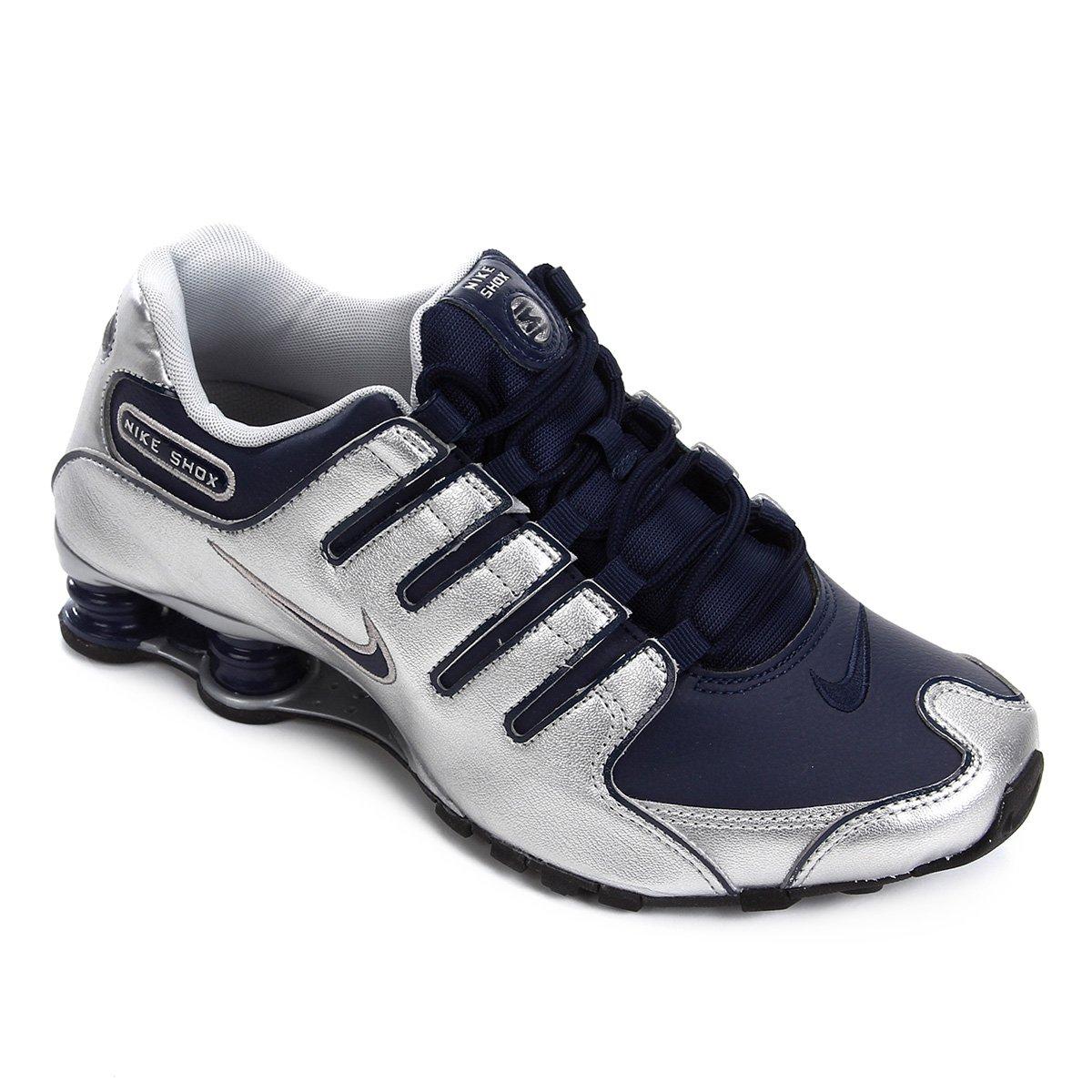 purchase cheap 8b664 07138 Tênis Nike Shox Nz Masculino - Marinho e Prata