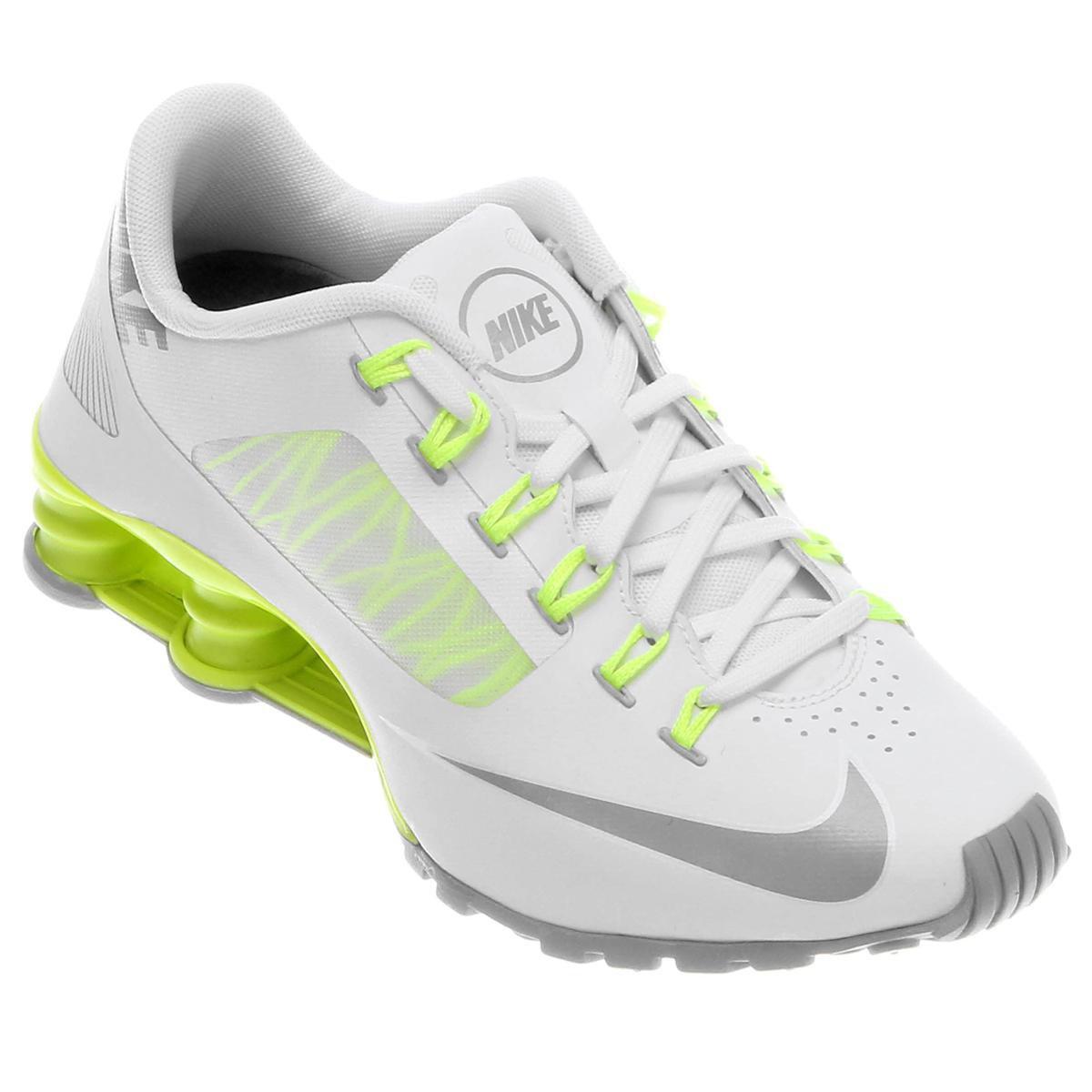 tenis nike shox branco e verde